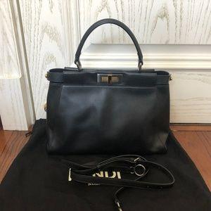 Regular Peekaboo Black Calfskin Leather